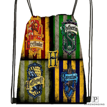 Custom Harry Potter Hufflepuff Drawstring Backpack Bag Cute Daypack Kids Satchel (Black Back) 31x40cm#180531-02-23