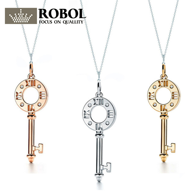 ROBOBL Tiff 100% 925 Sterling Silver New Hollow Key Pendant Necklace Watch 18K Yellow Gold, Golden Rose, Platinum Gold AvailableROBOBL Tiff 100% 925 Sterling Silver New Hollow Key Pendant Necklace Watch 18K Yellow Gold, Golden Rose, Platinum Gold Available
