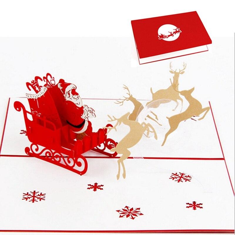 d popup de corte de papel de tarjetas de felicitacin tarjeta de navidad postal