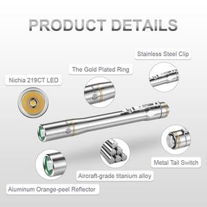 Image 3 - Lumintop IYP365 TI Pocket Penlight Nichia/Cree LED IPX8 Waterproof 3 Modes 2AAA smart titanium pen flashlight for Medical