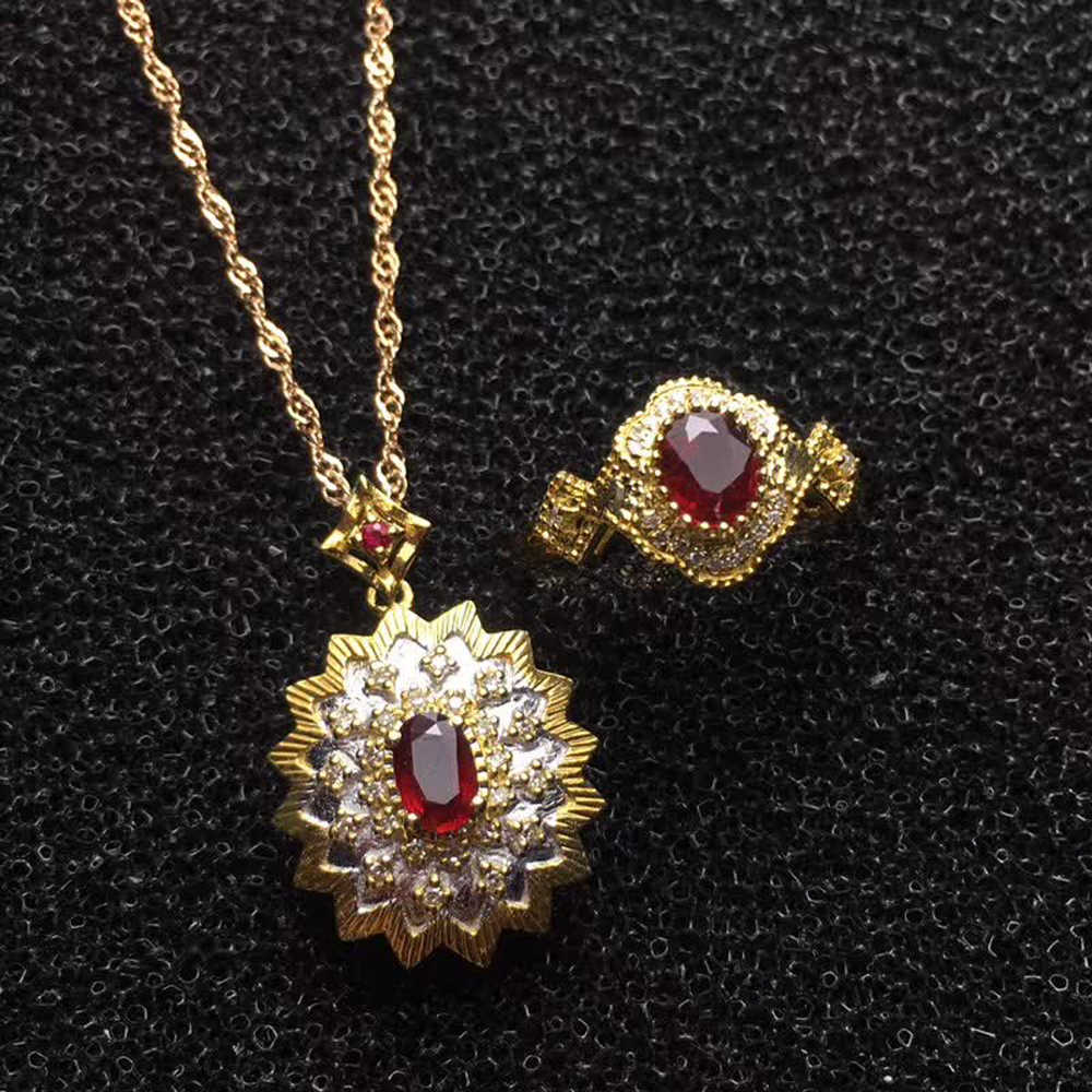 jewelry supplier Saudi luxury 18k gold South Africa real diamond natural  red ruby ring necklace pendant jewelry set for women