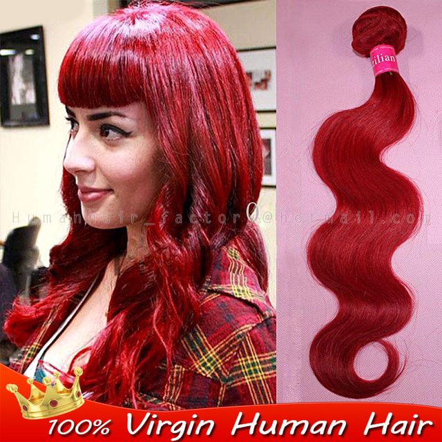 New 100 People Hair Weft Red Color Hair Extensions Brazilian Hair