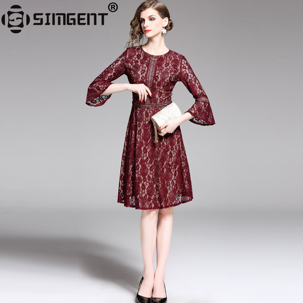 Simgent Flare Sleeve Dress Women Vintage A Line Elegant Casual Hollow Out Lace Dresses Woman Clothing Vestidos Jurkjes SG95151