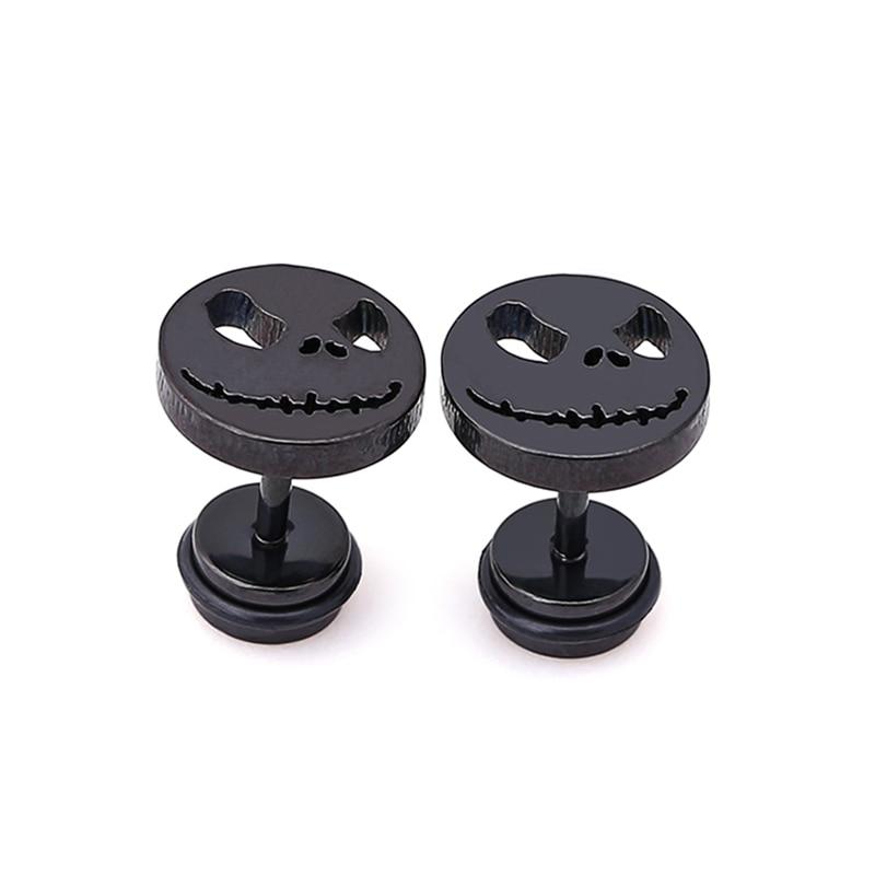 pair Stainless Steel Multi Color Evil Face Circle Stud Earrings