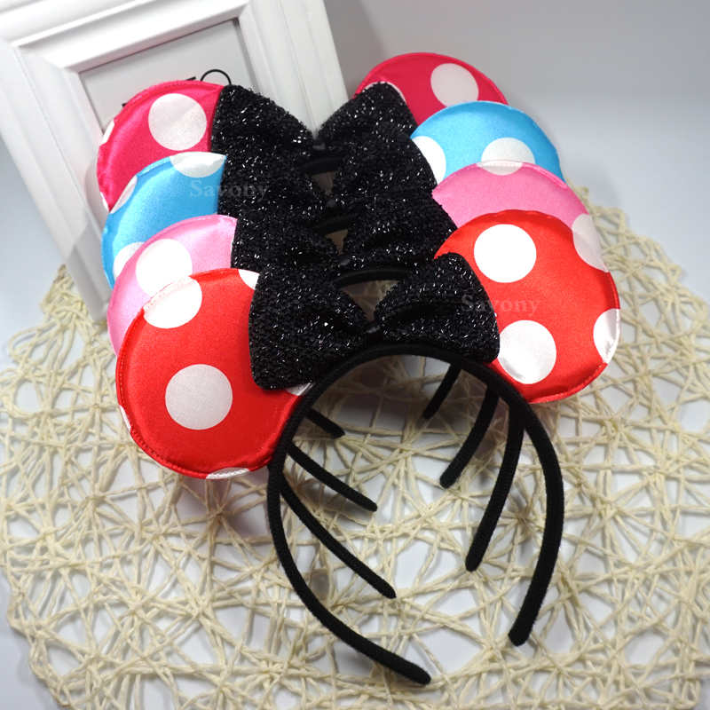 New Mickey minnie mouse ears headband Cute Headwear Mouse Ear Hair Band Headbands for birthday supplies Party Accessories ...