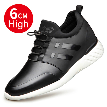 2019 Men's Shoes Quality Cow Leather Shoes Brand 6CM Increasing British Shoes Spring Black Man Casual Height Increasing Shoes