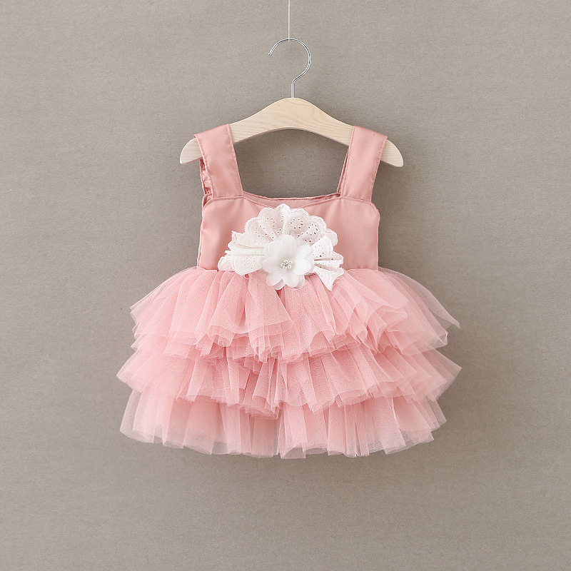 Children Frock Summer 2016 Kids Tutu Satin Lace Applique Sling Princess Dress Baby Girl Cake Dresses Lotus Root Starch Color