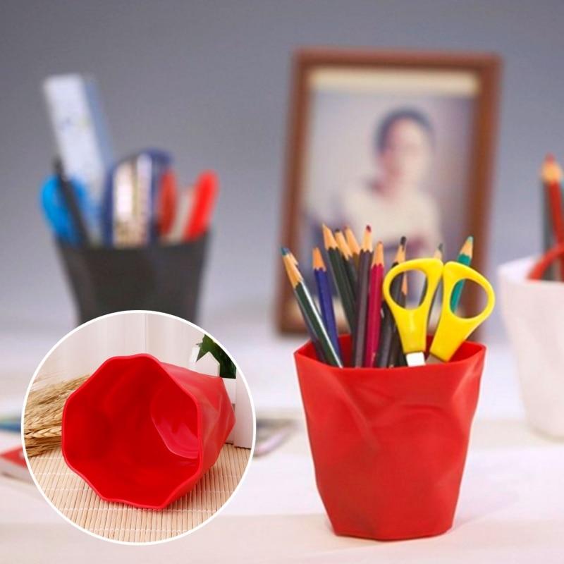 Practical Desktop Storage Box Pen Holder Pencil Case Makeup Brush Container Trash Bin Desk Accessories Organizer