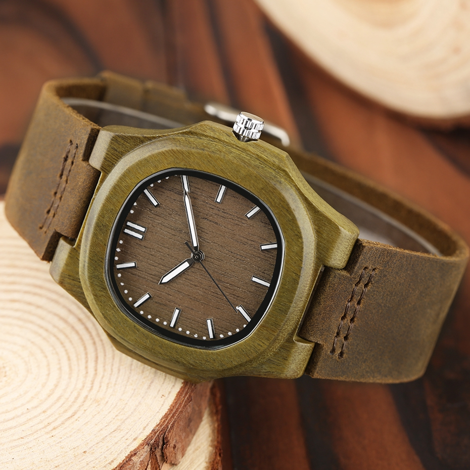2017 New arrivals Wood Watch Natural Light Wooden Face Fashion Genuine Leather Bangle Unisex Gifts for Men Women Reloj de madera Christmas Gifts (33)
