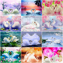 AZQSD Diamond Mosaic Swan Painting Animal DIY Full Square Round Embroidery Rhinestone Home Decoration
