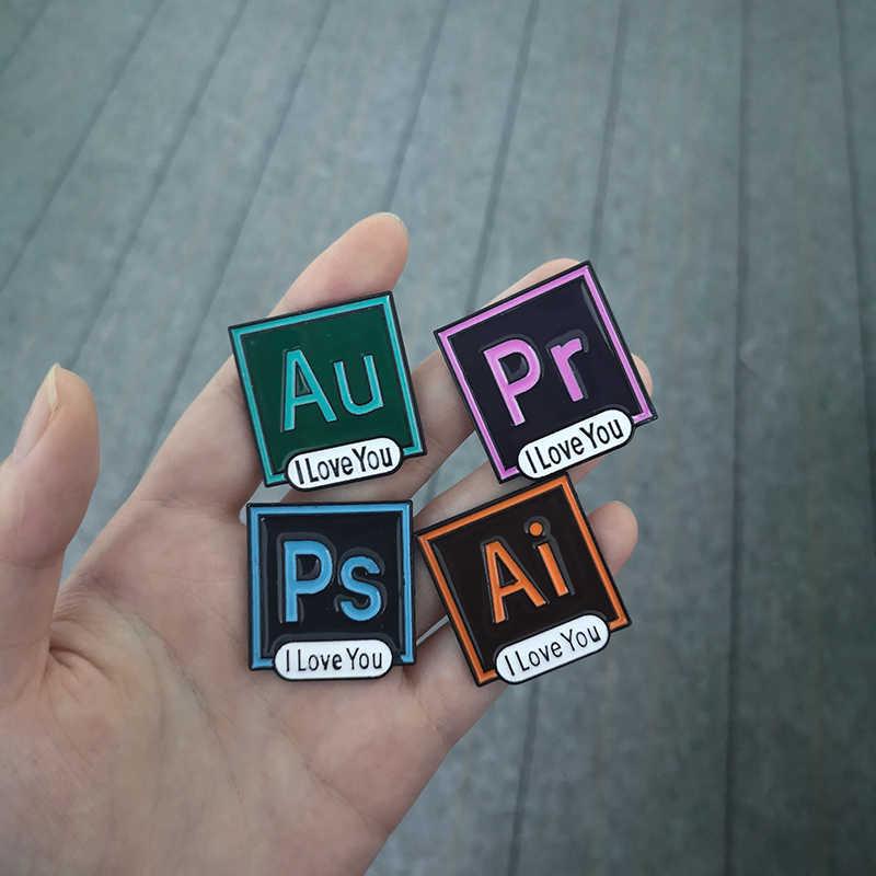 The Beatle Lucu Photoshop Ai PR AU Ikon Enamel Pin Lencana Bros Kemeja Denim Kerah Pin Teman Hadiah
