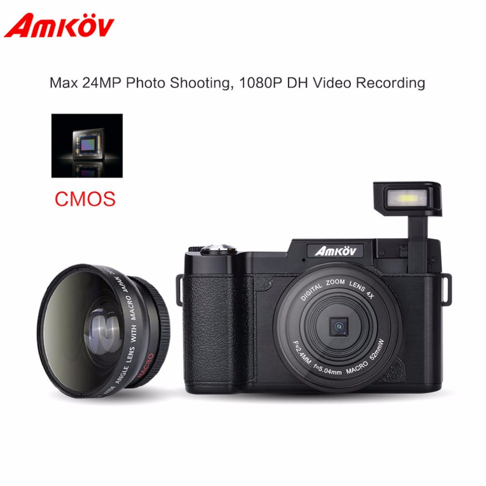 Amkov 24MP цифровой камера DSLR видео HD 1080 P 3,0 TFT ЖК дисплей экран с лица красота функция