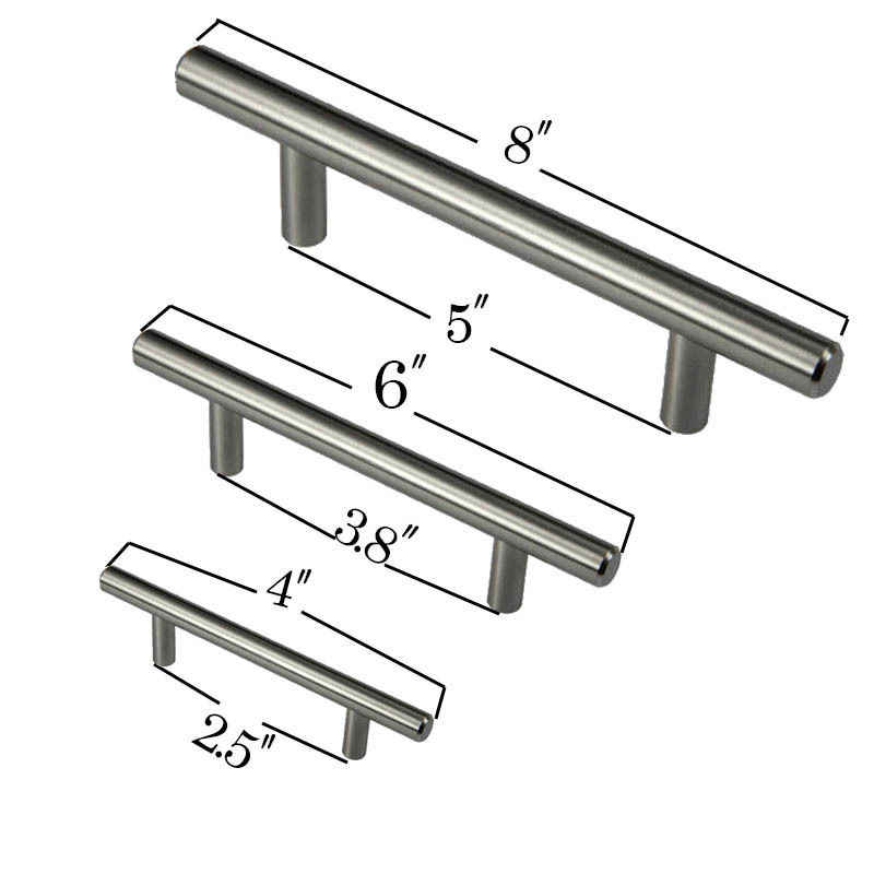 New 4 6 8 Stainless Steel T Bar Pull Hardware Drawer Kitchen Cabinet Door Handles