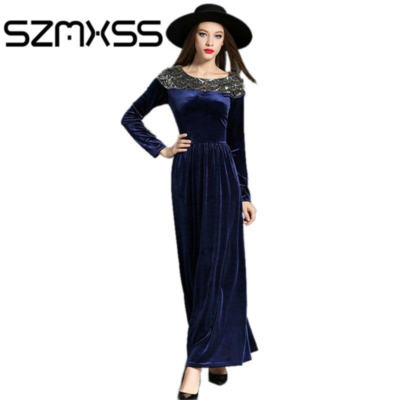 2016 Automne Hiver Robes Femmes Robe de Velours À Manches Longues Vintage Paillettes Maxi Robes de Soirée PartyBlack Bleu Robe Longo