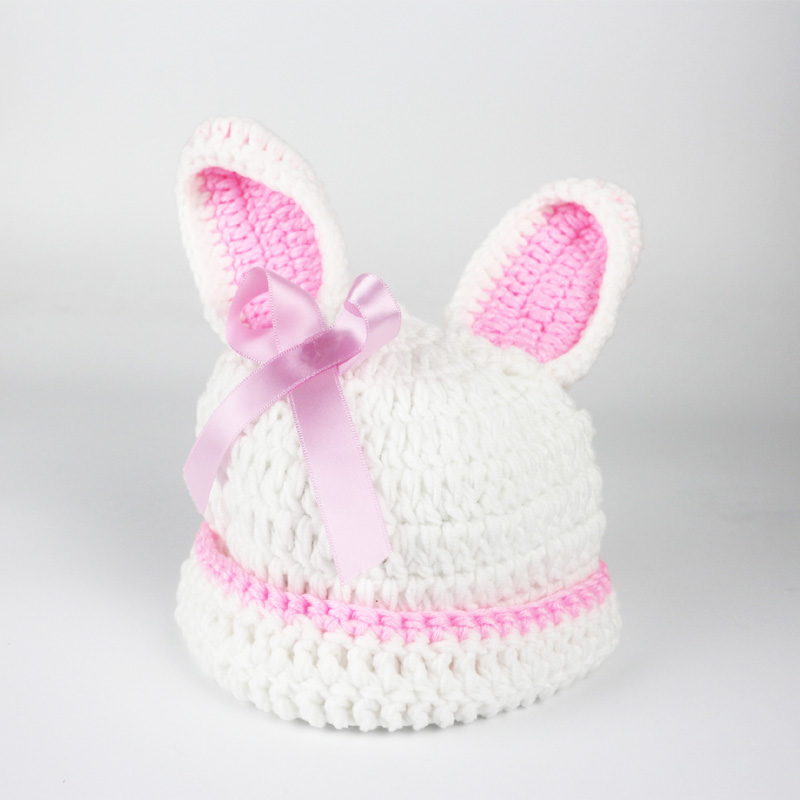 Crochet Baby Beanies Bunny Bonnet Photography Props 2 Colors Girls Boys Rabbit Cap Newborn Photography Baby Photo Props