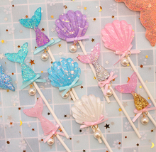 Kawaii Shell Baby Shower Cupcake Topper Ice Cream Kids Happy Birthday Cake Mermaid Party Supplies Beauty  Decoration