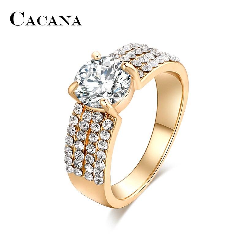 Cacana четыре линии кубического циркония Кольца для Для женщин Мода цинковый сплав Кольца Jewelry бижутерия оптом без. r503