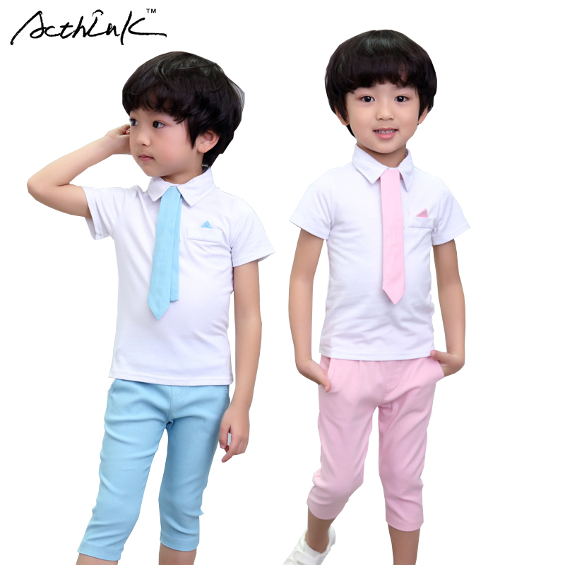 ActhInK New Boys Summer Preppy Style Clothing Set Boys Calf-Length Shorts Wedding Suit with Tie Kids Summer Formal Suit, AC040