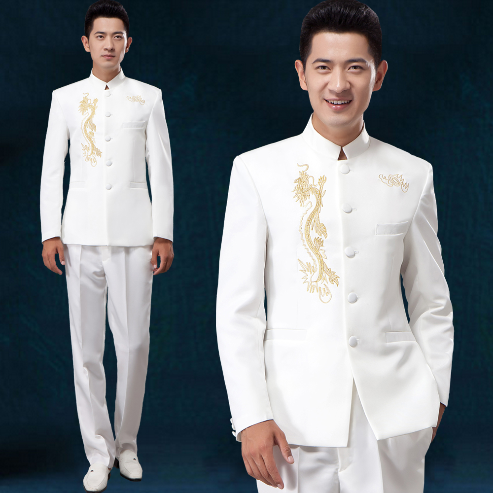 new Tunic Traditional Stand Collar Suits Costume Male Embroidery Chinese  wedding dress Ancient Costume tunic costume homme-in Suits from Men s  Clothing on ... 9f90b4396