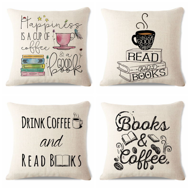 Free Shipping Polyester Simple Coffee Letter Books Cushions Pillow Case 45Cmx48Cm Square Office Chair Cushion Cover