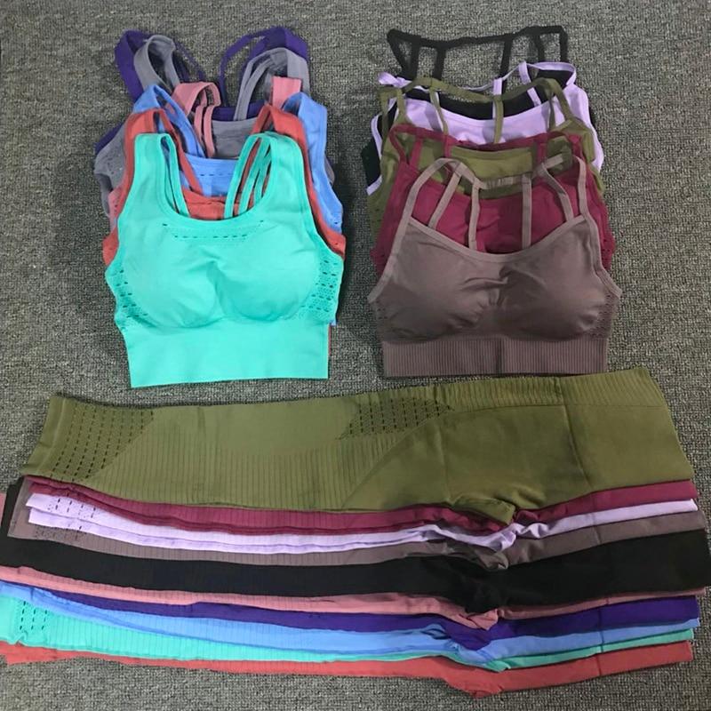 24 cores 2 pc/set esportes ternos sem costura conjunto de yoga feminino roupas de fitness roupa esportiva ginásio leggings acolchoado push-up sutiã esportivo