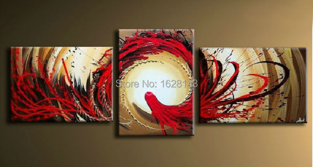 Modern decoration canvas pieces for bedroom wall paintings red ...
