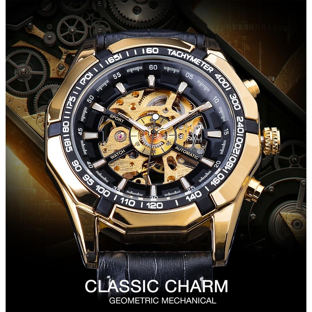 Forsining Waterproof Golden Black Skeleton Clock Two Button Decoration Mechanical Wrist Watches for Men Black Genuine Leather 2