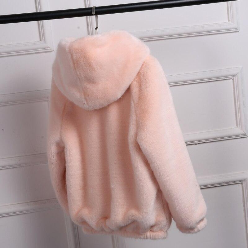 De Nuevo Invierno Sólido blanco Piel Visón Corta Gruesa Parkas Con Gris Mz2025 Color Capucha Sueltos Mujer Conejo rosado Coreano Mujeres Abrigo Imitación qBqpSwdt