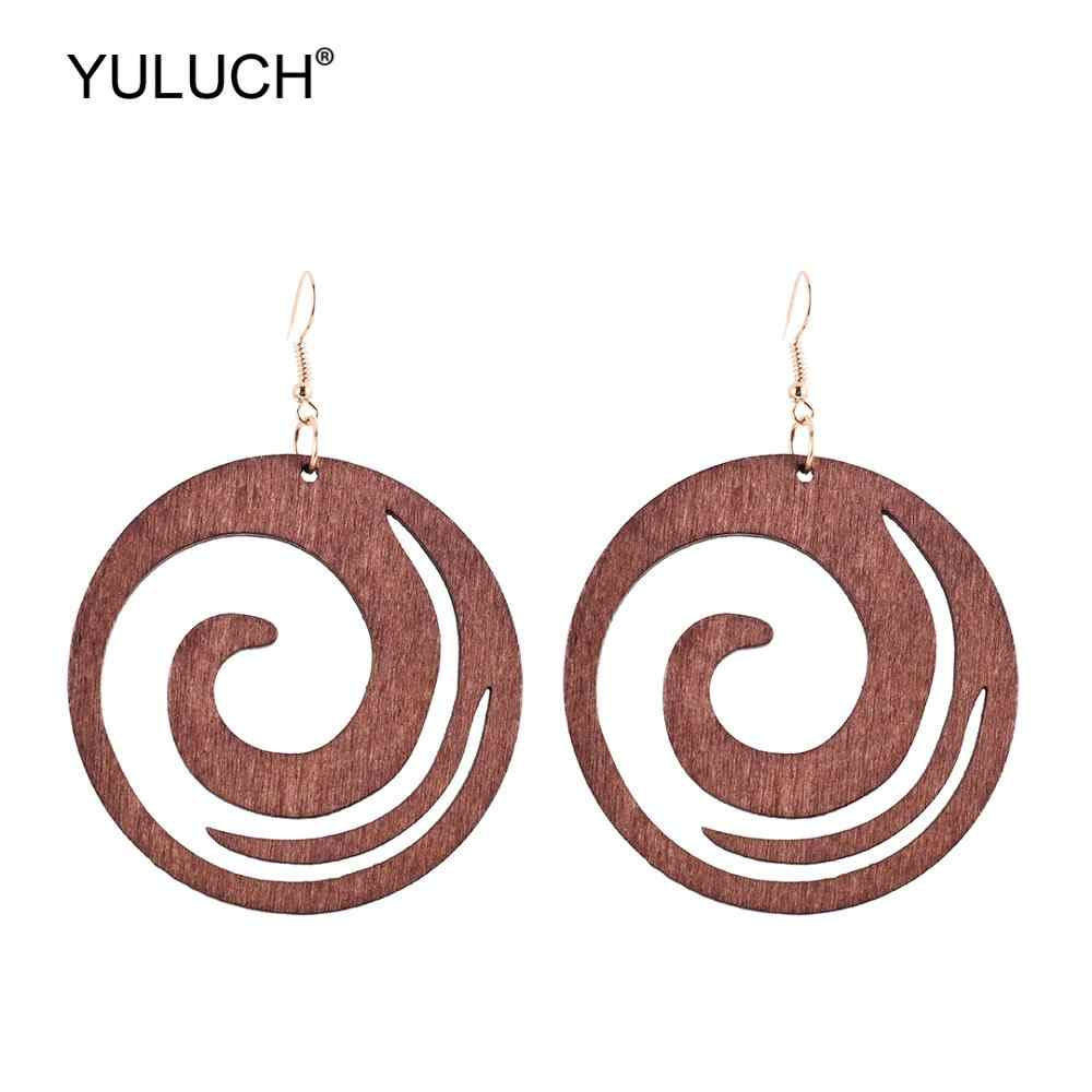 YULUCH Fashion Round Pendant Earrings Ethnic Bohemian Boho Black Green Wooden Hollow Cloud Hanging Earrings For Women Party Gift
