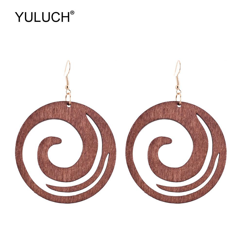 YULUCH Fashion Round Pendant Earrings Ethnic Bohemian Boho Black Green Wooden Hollow Cloud Hanging Earrings For Women Party Gift