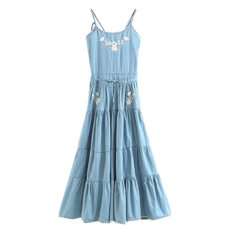 2163.49руб. |Богемное платье на бретельках с цветочной вышивкой и перекрестной шнуровкой 1970 s женские джинсовые праздничные платья средней длины с открытой спиной|Платья| |  - AliExpress