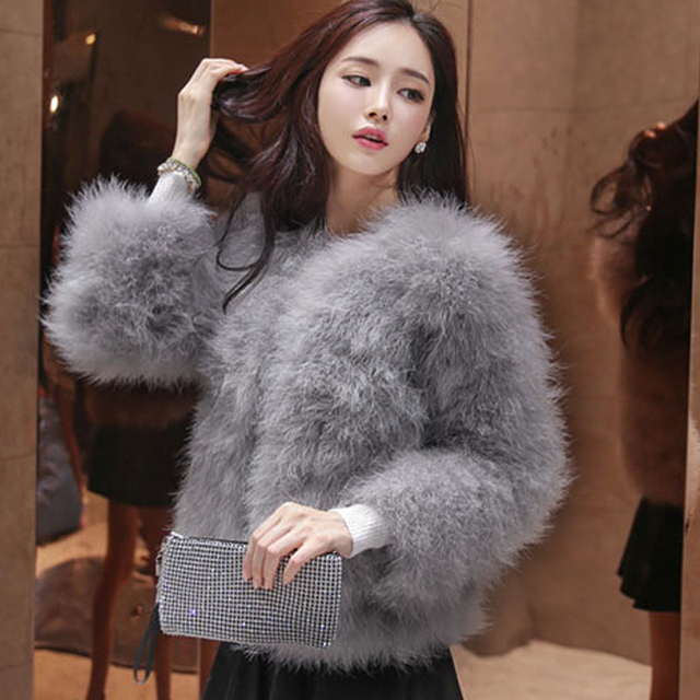 50ae2bf3a8d Winter Women Coat Faux Ostrich Fur Coats Ladies Shaggy Coat Long Sleeve  Fluffy Turkey Feather Fourrure Female Plus Size 3XL Q4