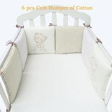 Дети Детская кроватка бампер кровать протектора для маленьких детей хлопок детская кроватка ясли для ограждение с мишкой для мальчиков и девочек постельное белье 6 шт Плюшевые