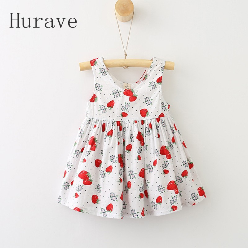 Hurave Girl Dress strawb Print 2018 New Summer Dress Girls O neck Embroidered Vest Children Cloth Toddlers Sleeveless Dresses