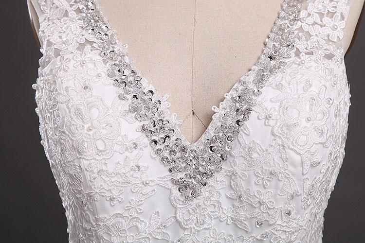 Elegantní krajka bez rukávů V-Backless mořská panna Svatební - Svatební šaty - Fotografie 5