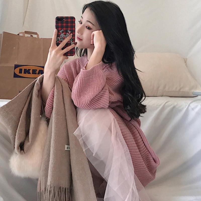 Taille pink Plissée Chandail Femme Col En 2 Automne Femmes 2019 Black Tricoté V Jupe Elastique 4xl Décontracté Grande L87 Lâche Filet Printemps Pièces Ensembles 6v7AgX