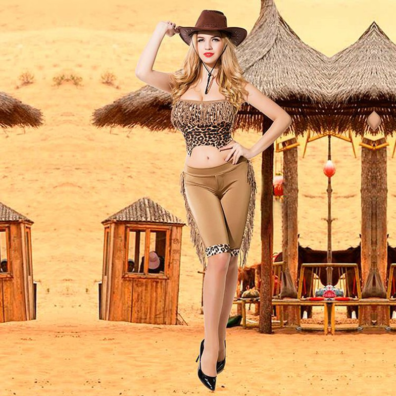 tassel leopard print top halter short sexy cowgirl cosplay costumes canival party role play uniforms outfit 9750