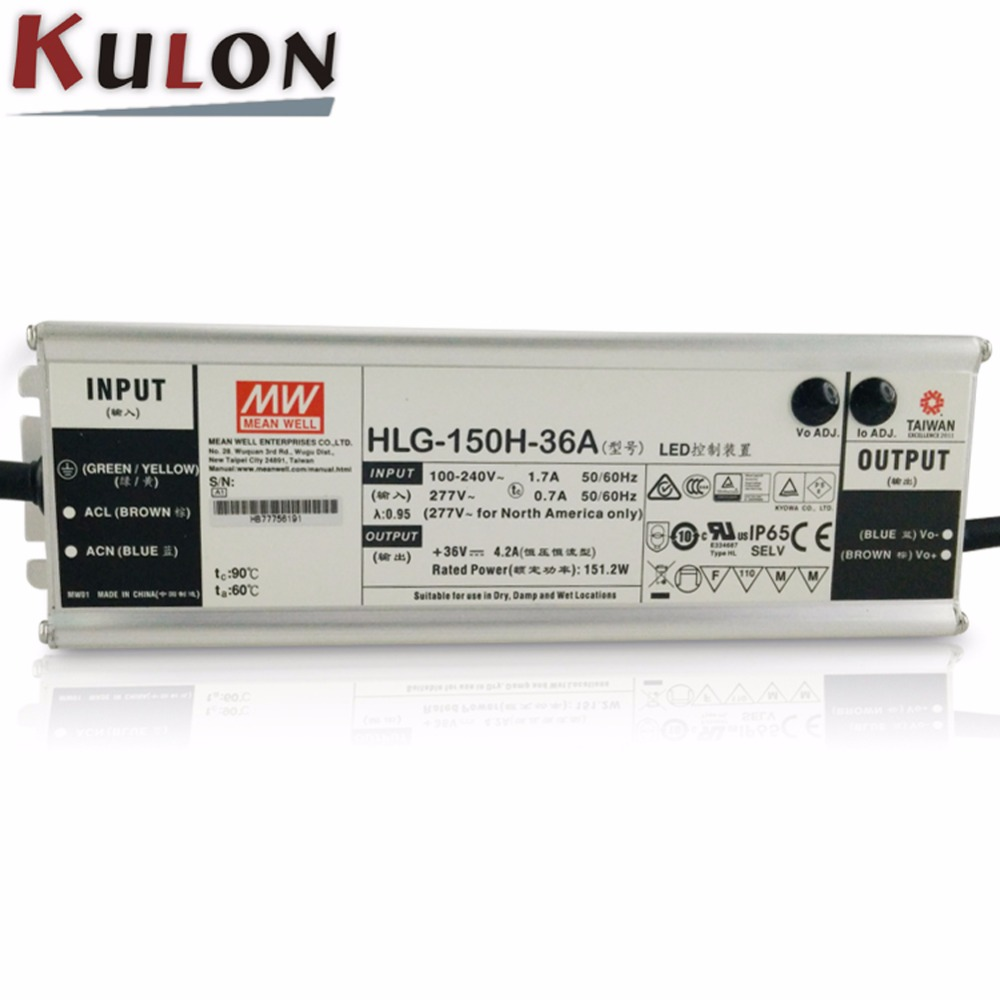 Original MEAN WELL power supply 36V HLG-150H-36A 150W 4.2A 36V LED Power Supply adjustable led driver original mean well led driver hlg 60h 36a 61 2w 36v 1 7a adjustable ac dc power supply with pfc