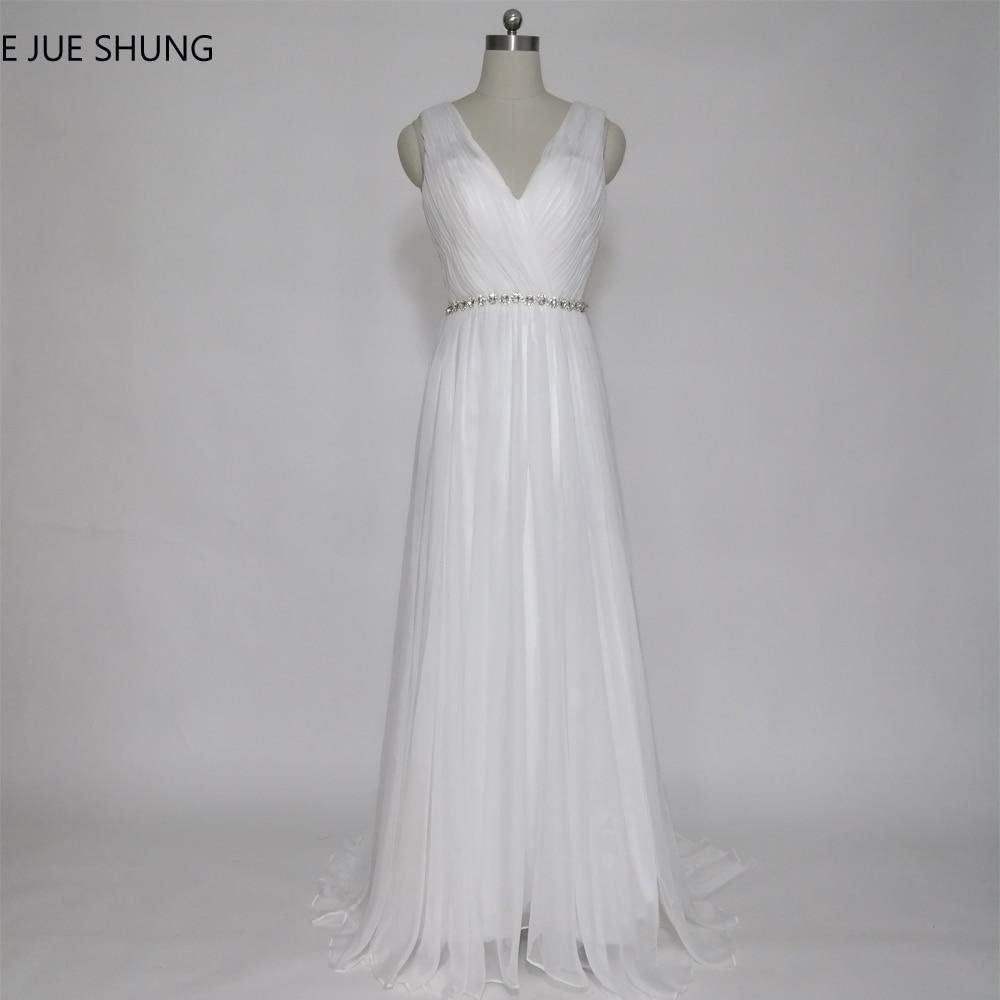 E JUE SHUNG 흰색 Tulle Beach 웨딩 드레스 A 라인 V neckless Backless Boho 웨딩 드레스 trouwjurk robe de mariee