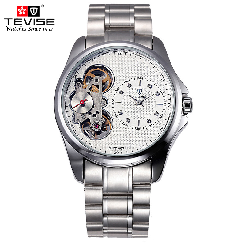 TEVISE Business Automatic Mechanical Watches Men Mechanical Self-Wind Silver Stainless Steel Skeleton Watch Men Montre 8377 tevise mechanical men watch stainless steel strap automatic self wind wristwatches skeleton fashion casual clock 673s