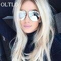 OLTLO Piloto Fresco Subiu Espelho de Ouro Da Marca Das Mulheres Dos Homens do Desenhador brilhante Quadro Óculos De Sol 2017 Novos Óculos de Sol Espelho Rosa Senhora feminino