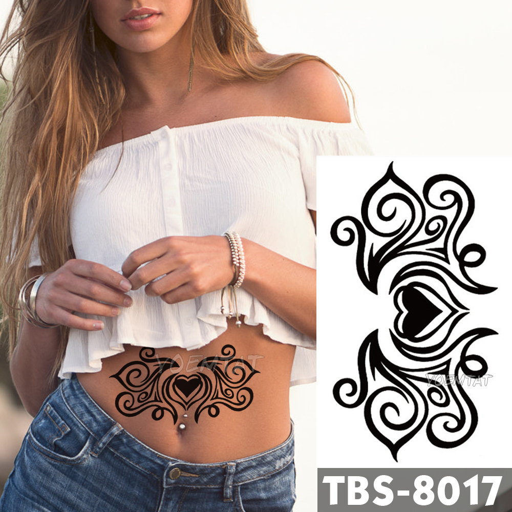 12x19cm Wasserdicht Temporäre <font><b>Tattoos</b></font> Liebe romantik Flash <font><b>Tattoo</b></font> Aufkleber Brust Taille Tribal Totem Tatoo DIY Arm Gefälschte <font><b>tattoo</b></font> Frauen image