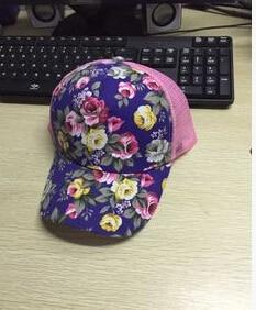 10 шт./партия,, корейский стиль, женская летняя повседневная бейсболка для взрослых, с принтом, солнцезащитная Кепка, регулируемая, с цветком розы - Цвет: blue