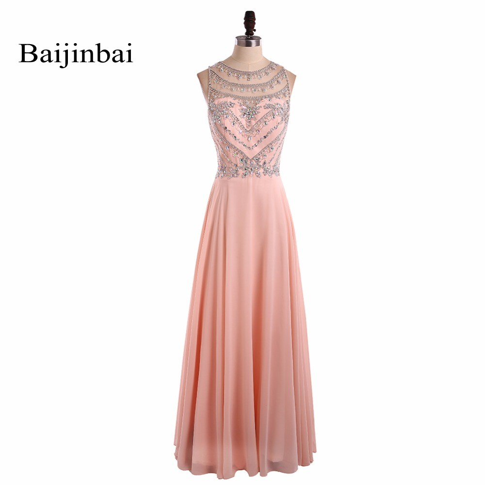Baijinbai Sexy Long Prom Dresses 2018 Pink Sleeveless Chiffon Crystal Beading vestido de festa Formal Party Dress Custom Made