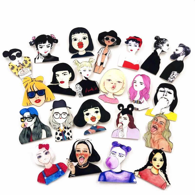 1 Pcs Baru Anak Gadis Seri Acrylic Bros Wanita Cantik Ikon Lencana Pin untuk Dekorasi Di Ransel Kaos wanita Hadiah