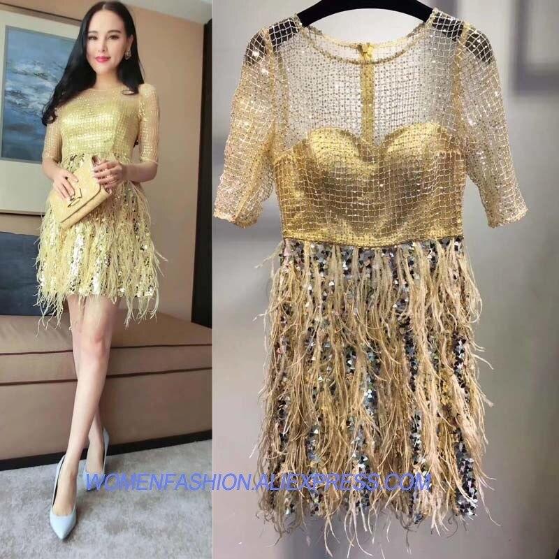 Модные красивые платье перо шить женские летние платья супер блесток уход сверкающие платья boho Сексуальная Платье желтого цвета jurken