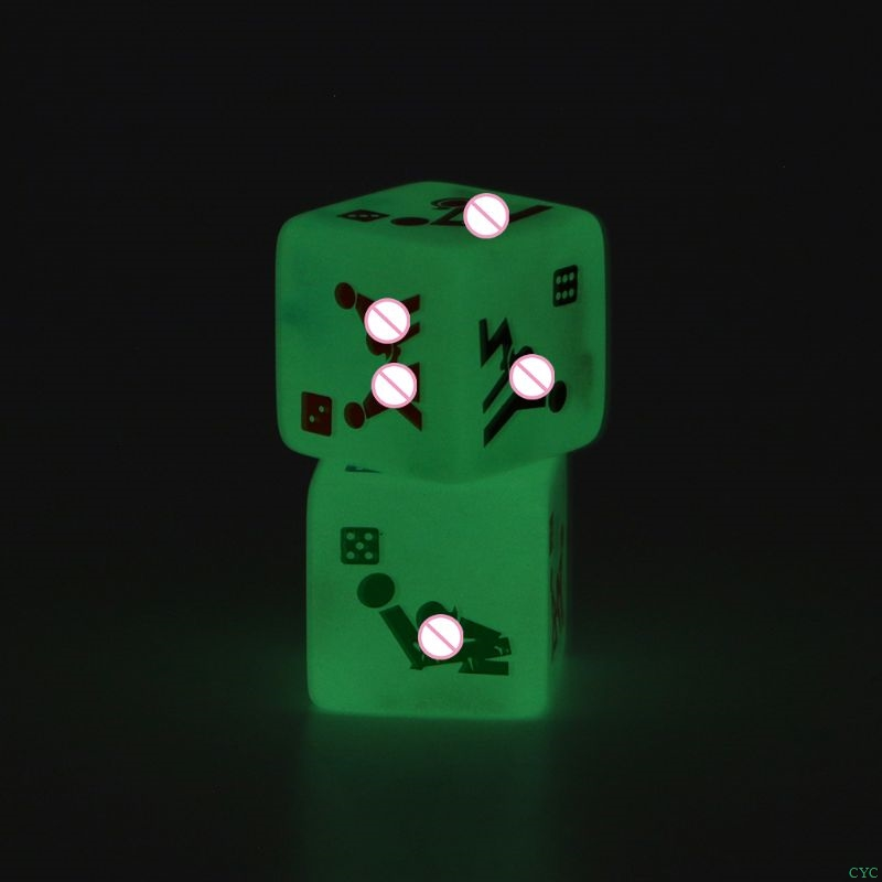 2pcs 25mm Noctilucent Dice Cube Adult Game Love Sex Dice Night Bar KTV Fun Game image
