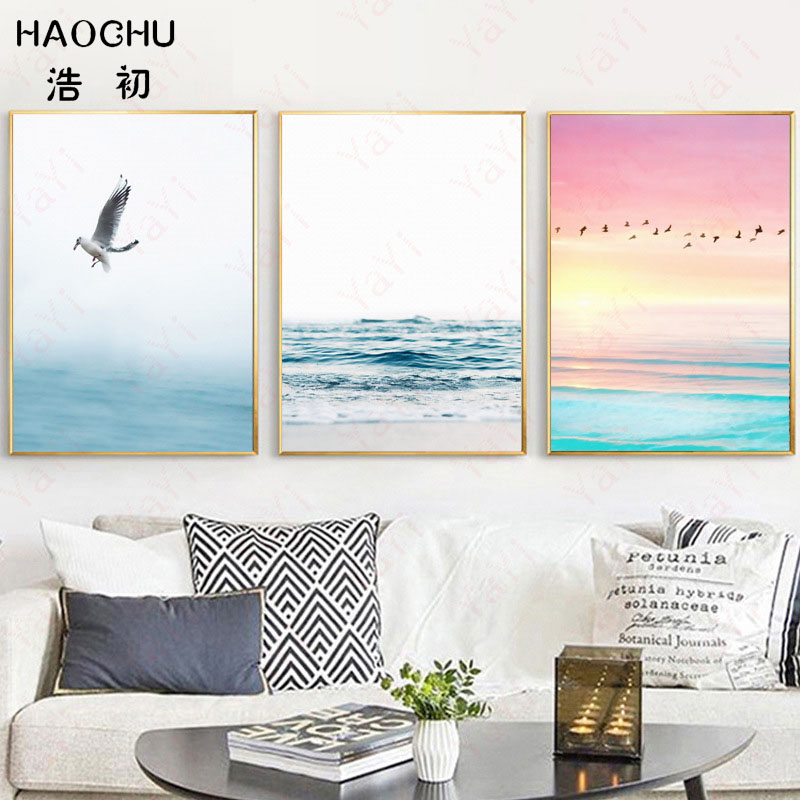 HAOCHU Nordic simple modern new blue pink bird sea home decoration canvas painting living room poster wall art picture gift