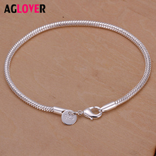 AGLOVER 100% 925 Sterling Silver Snake Chain Bangle & Bracelet Luxury Jewelry For Women Christmas Sale Authentic недорого