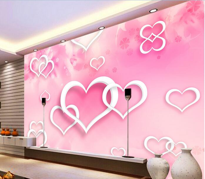 Wallpaper Custom Mural Non Woven Room Wall Paper Sticker Pink Heart Snowflakes Painting Photo For Walls 3 D In Wallpapers From Home